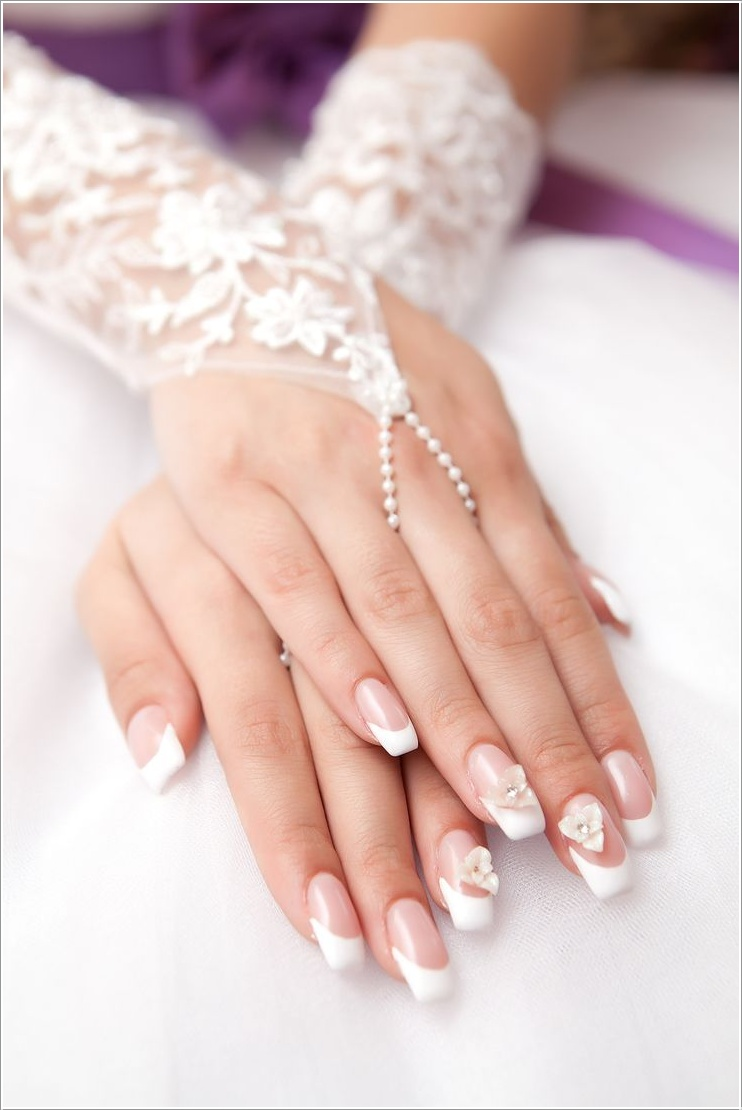 3d-flower-bridal-nails-bmodish 50+ Coolest Wedding Nail Design Ideas