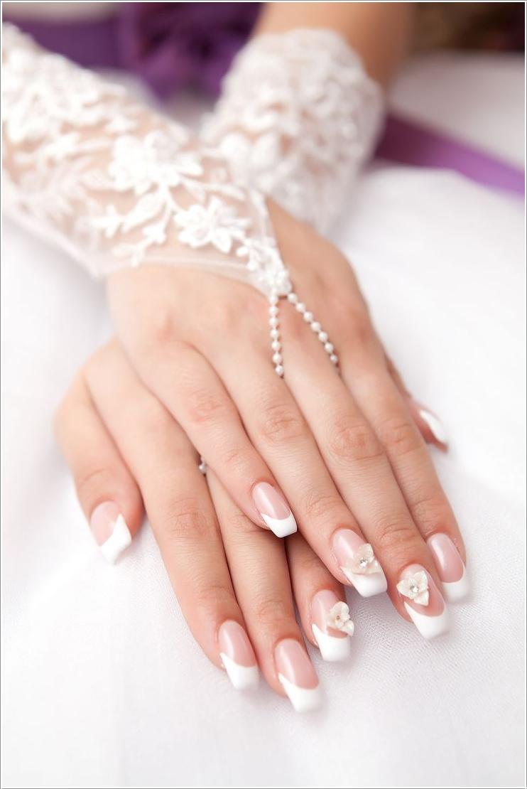 3d-flower-bridal-nails-bmodish 50+ Coolest Wedding Nail Design Ideas