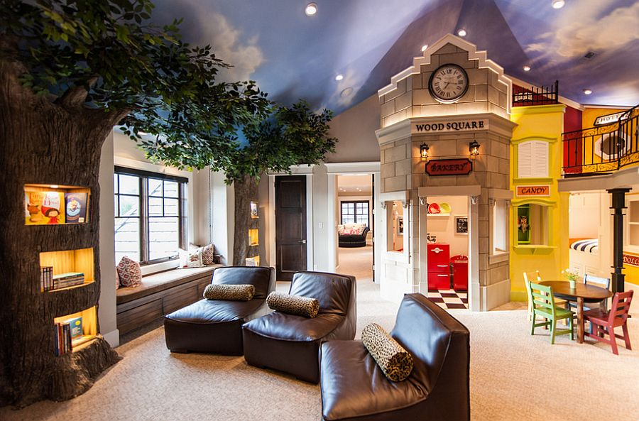 Amazing-kids-room-design-with-treetrunk-shelves-and-painted-ceiling +25 Marvelous Kids' Rooms Ceiling Designs Ideas