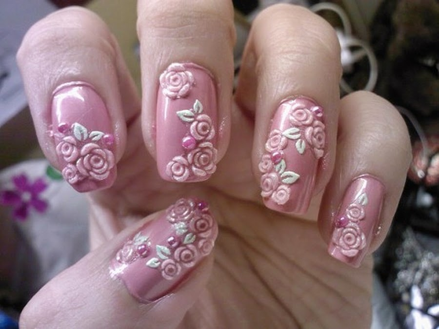 Awesome-Easy-Nail-Art-with-Pink-Flower-Motif 50+ Coolest Wedding Nail Design Ideas