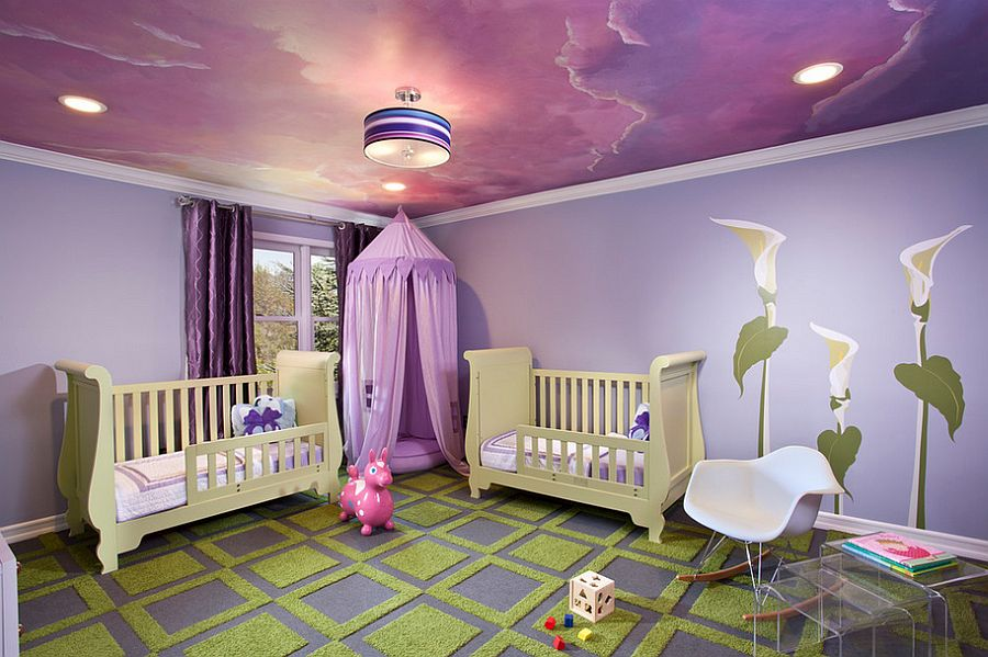 Awesome-ceiling-in-purple-shapes-the-perfect-room-for-your-little-princess +25 Marvelous Kids' Rooms Ceiling Designs Ideas