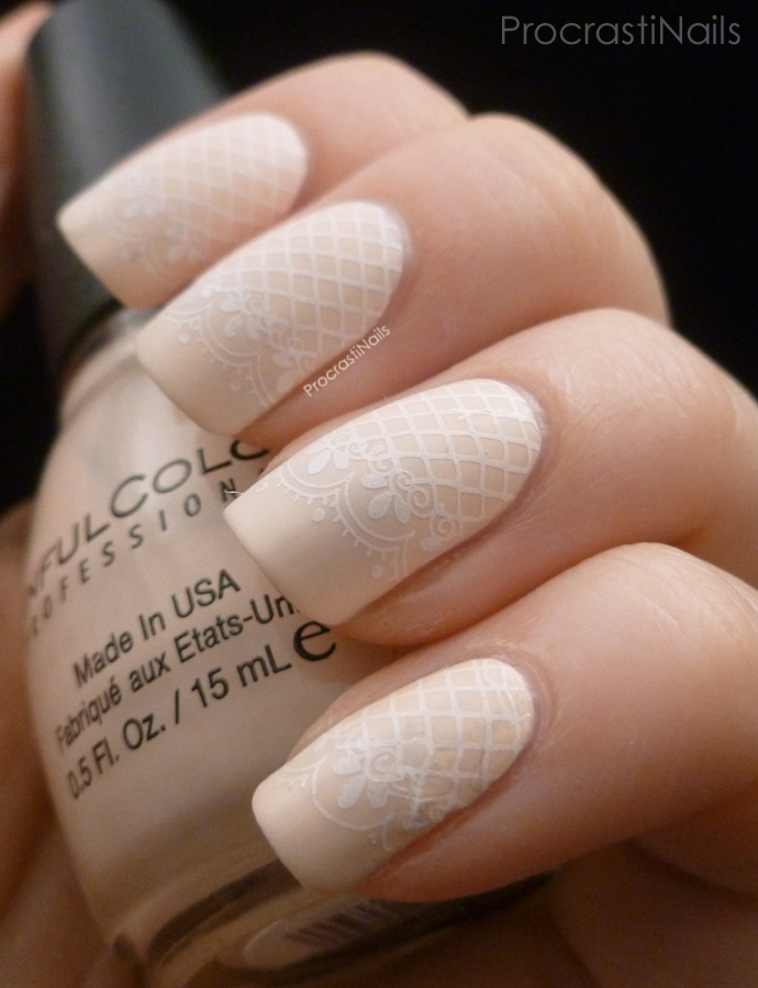 Delicate-Lace-Stamping 50+ Coolest Wedding Nail Design Ideas