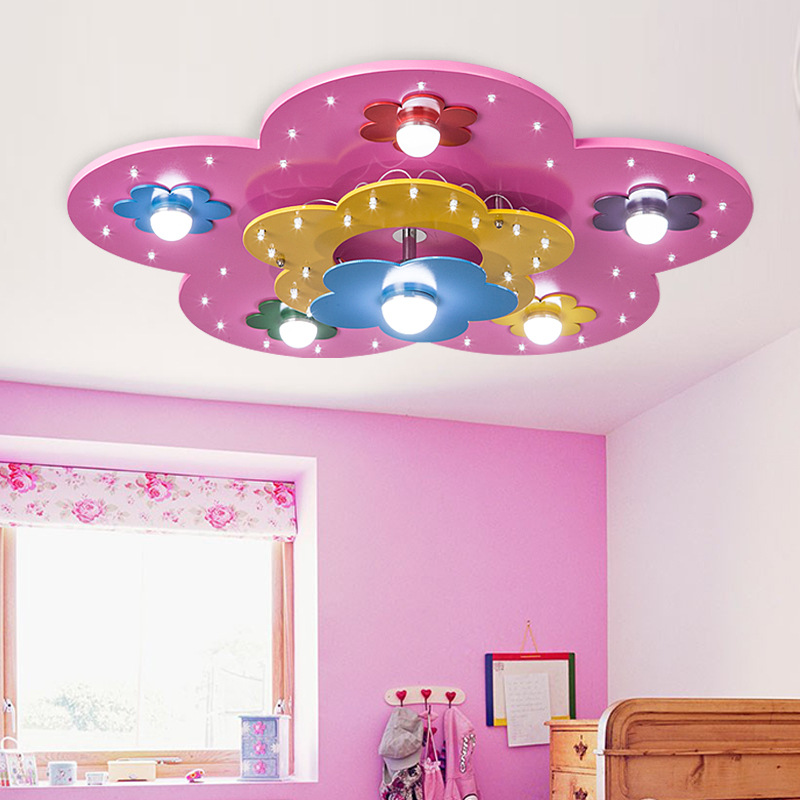 For-Children-s-Room-Colorful-Flower-Shape-Decorative-Lights-High-Quality-Environmental-Wooden-Kids-Modern-Led +25 Marvelous Kids' Rooms Ceiling Designs Ideas
