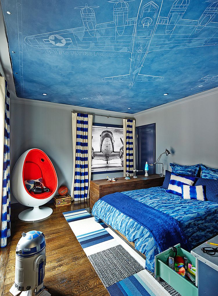 Fun-contemporary-kids-bedroom-inspired-by-aviation +25 Marvelous Kids' Rooms Ceiling Designs Ideas