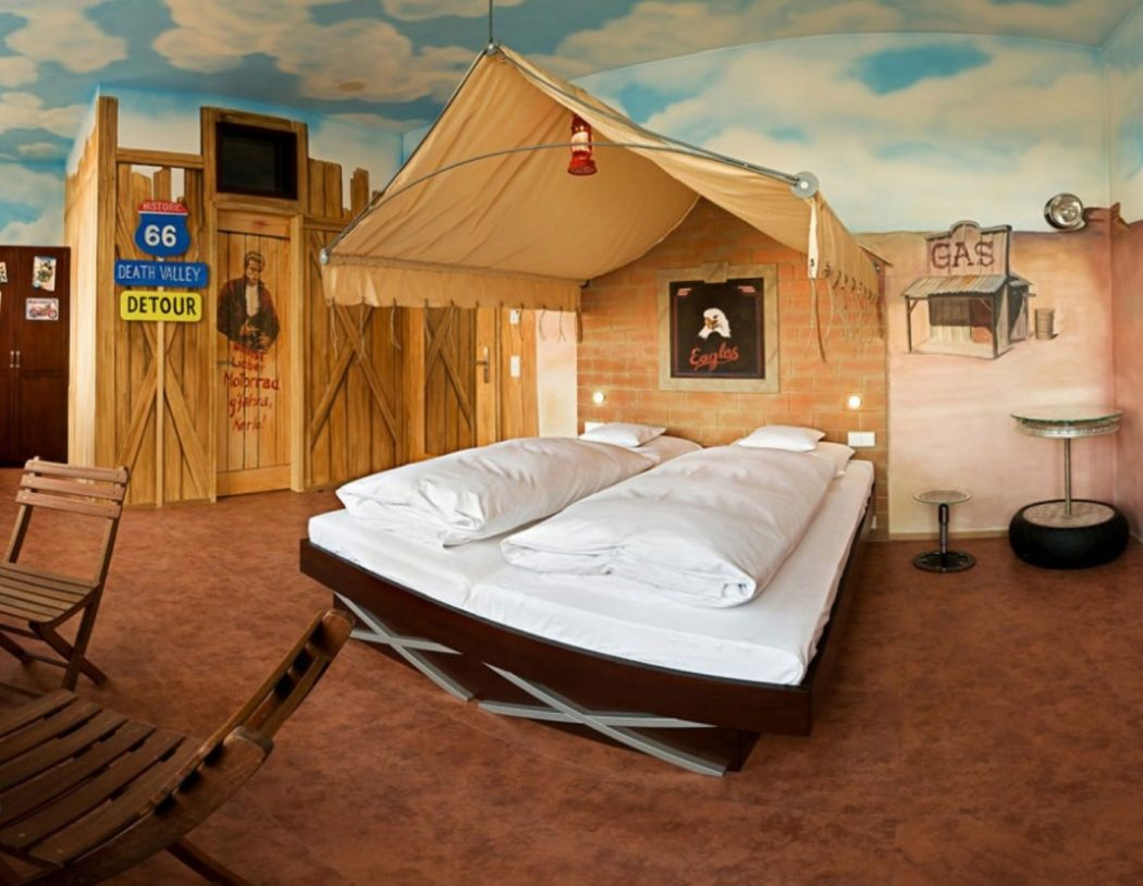 Incredible-Country-Cowboy-Themed-Kids-Room-Furniture-Decor-For-2-Boys-Design-Ideas-With-Classic-Dark-Brown-Bed-Frame-Design-Also-Creative-Brown-Tent-Canopy-Bed-And-Sky-Blue-Ceiling-Paint-Ideas +25 Marvelous Kids' Rooms Ceiling Designs Ideas
