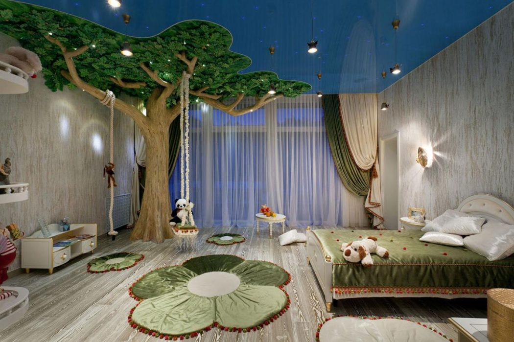 amusing-ceiling-decorations-for-kids-room-with-amusing-creatif-a-big-tree-design-idea-plus-swing-then-flower-carpet-also-lighting-ceilind-and-pendant-lamp. +25 Marvelous Kids' Rooms Ceiling Designs Ideas