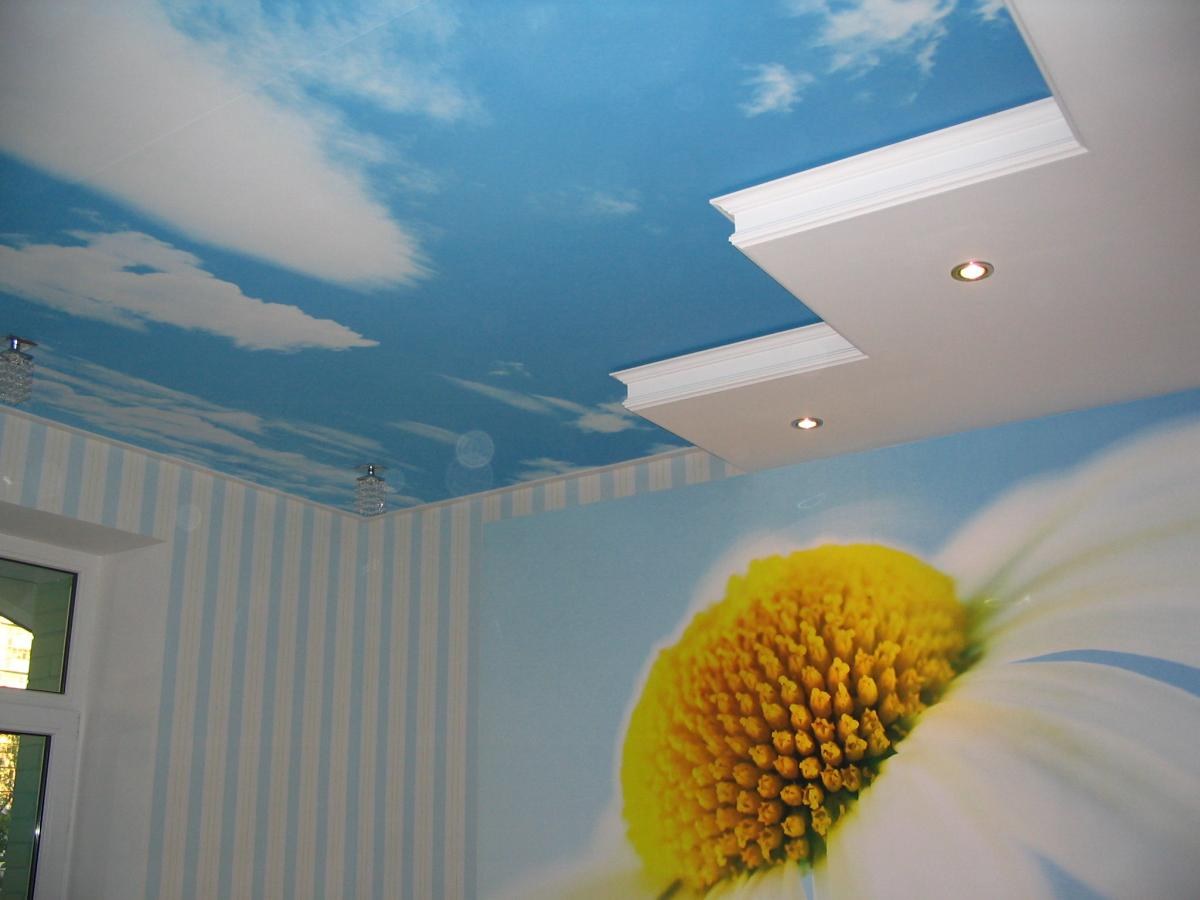 awasome-ceiling-decorations-for-kids-room-with-blue-sky-ceiling-walpaper-with-ligting-ceiling-also-light-bulb-plus-flural-mural-wall-walpaper-suitable-for-girls-room. +25 Marvelous Kids' Rooms Ceiling Designs Ideas