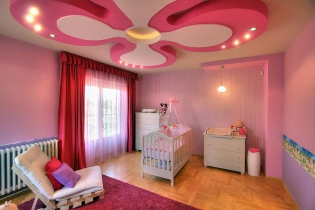 beautiful-flural-suspended-ceiling-decorations-for-kids-room-with-lighting-ceiling-and-pendant-lamp-also-pink-color-wall-thne-red-pabric-curtain. +25 Marvelous Kids' Rooms Ceiling Designs Ideas