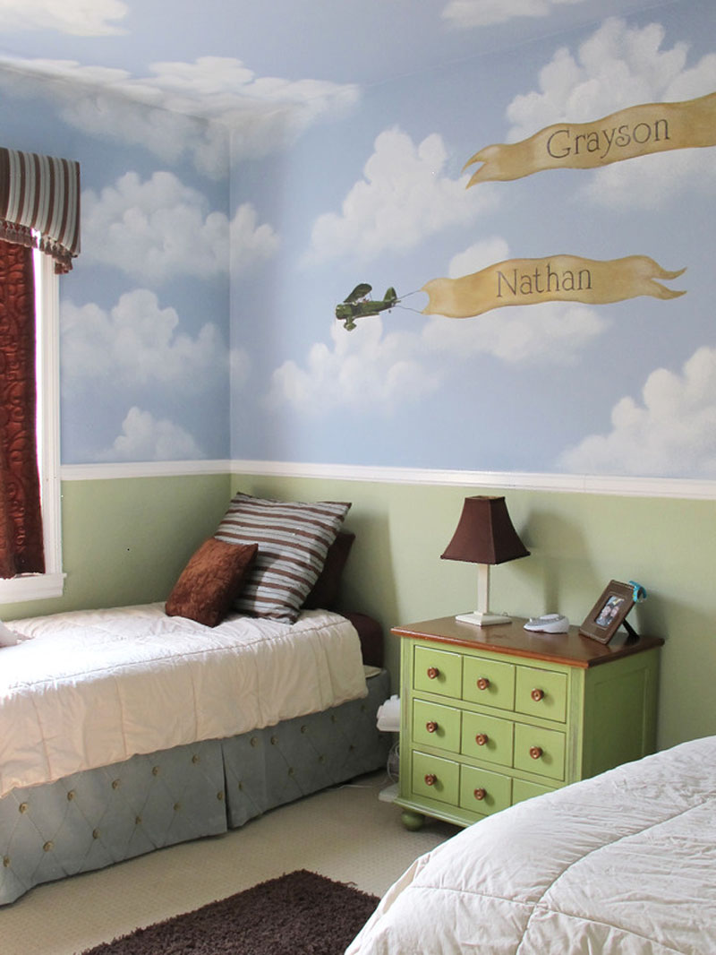 bedroom-kids-bedroom-childrens-bedroom-decoration-ideas-with-cloud-and-plane-wall-decor-with-fancy-bedroom-design-ideas +25 Marvelous Kids' Rooms Ceiling Designs Ideas