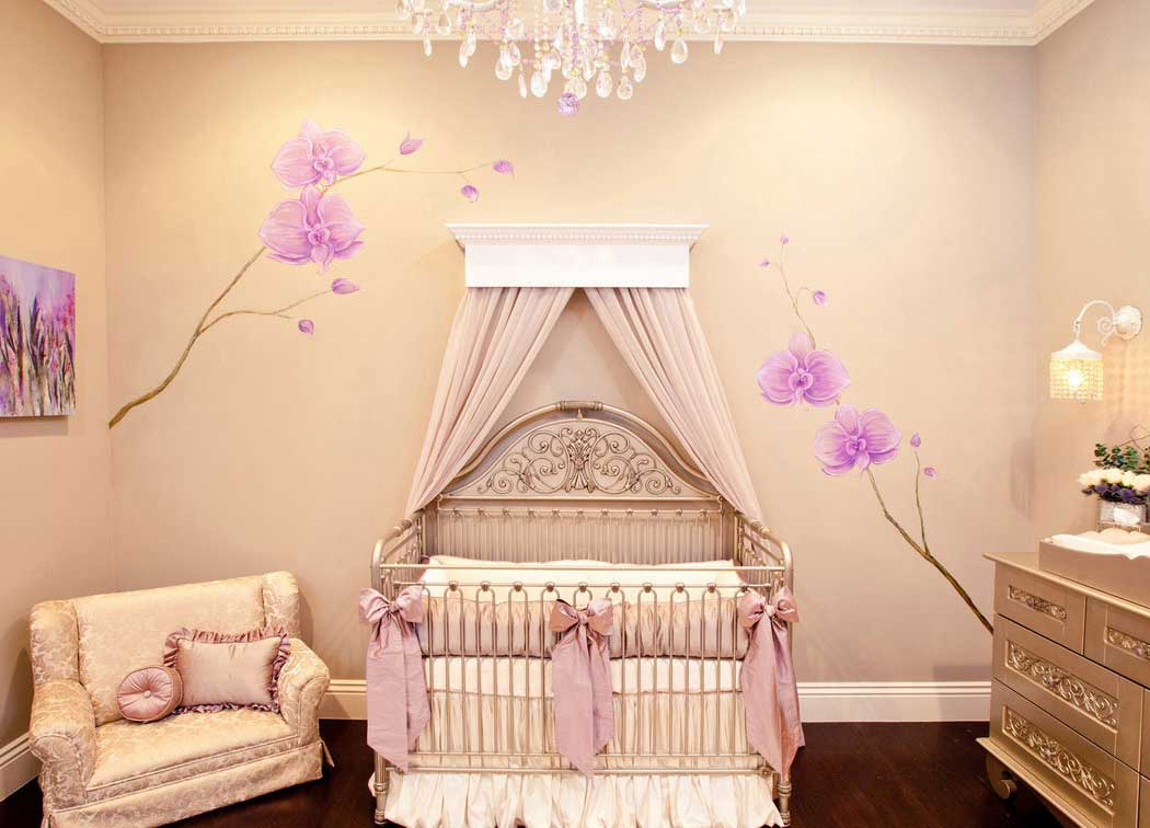 creative-baby-room-ideas-varnish-wooden-floor-brushed-nickel-crib-floral-wall-sticker-beige-plain-curtain-beige-fabric-lounge-chair-silver-wooden-carving-sideboard-white-wall-lamp-unique-white-chandel +25 Marvelous Kids' Rooms Ceiling Designs Ideas