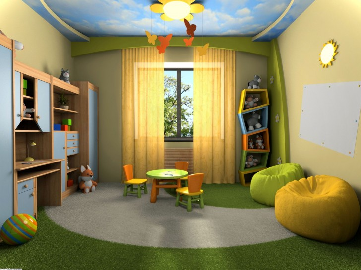 creative-kids-room-design_blue-sky-theme-ceiling_yellow-bedroom-curtains_yellow-and-green-bean-bag_green-and-grey-circle-pattern-rug_brown-and-blue-desk-sets_fox-doll_colorfull-kids-table-sets-728x545 +25 Marvelous Kids' Rooms Ceiling Designs Ideas