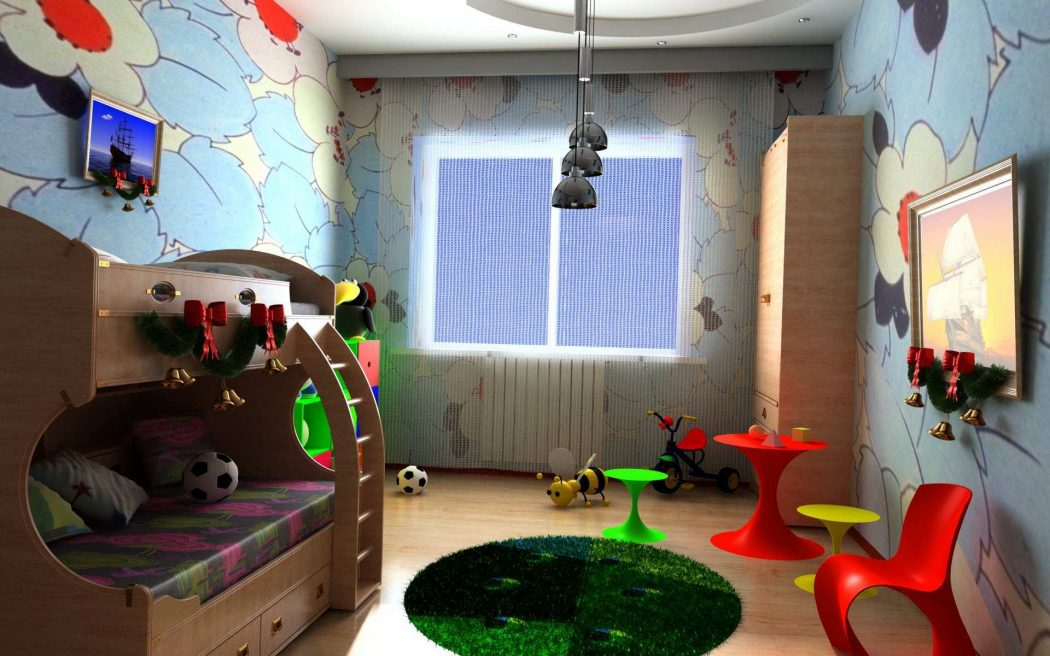 kids-room-decoration-wooden-bunk-beds-wooden-ladder-wooden-drawers-wooden-wardrobe-round-green-rug-round-red-table-small-stools-laminate-wooden-floor-flowers-wallpaper-unique-pendant-lamp-small-tricyc +25 Marvelous Kids' Rooms Ceiling Designs Ideas