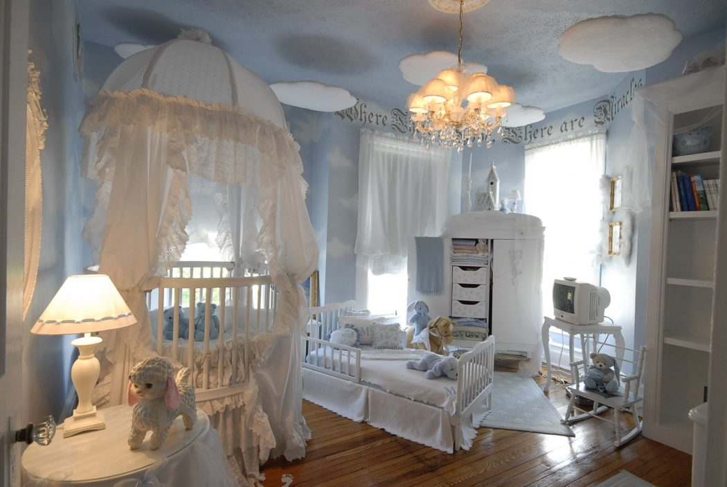 kids-room-furniture-awesome-girl-baby-room-design-featuring-nursery-room-decor-ideas-with-sky-blue-wall-paint-magnificent-nuance-room-and-equipped-by-ikea-white-furniture-sets-as-well-as-bedroom-deco +25 Marvelous Kids' Rooms Ceiling Designs Ideas