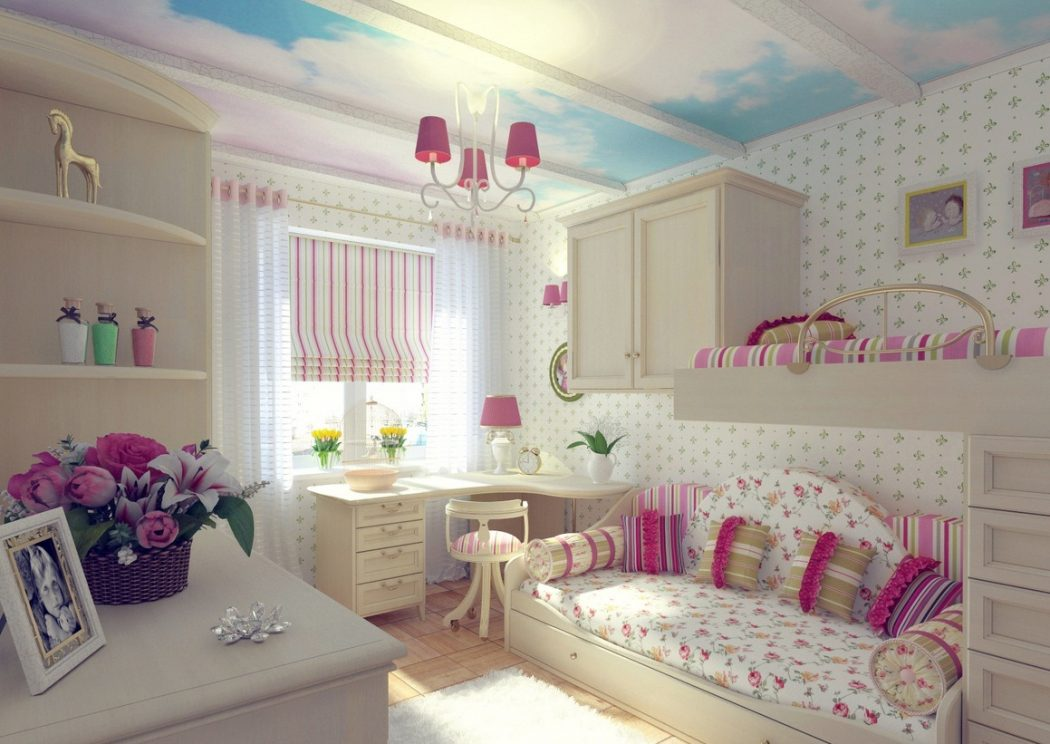 l-shaped-desk-design-plus-wonderful-girl-bedroom-decorating-idea-with-sky-ceiling-painting-and-contemporary-loft-sofa-bed +25 Marvelous Kids' Rooms Ceiling Designs Ideas