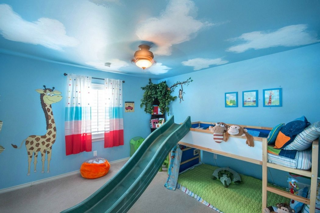 modern-fun-kids-room-ideas-features-blue-kids-room-color-schemes-in-kids-room-blue +25 Marvelous Kids' Rooms Ceiling Designs Ideas
