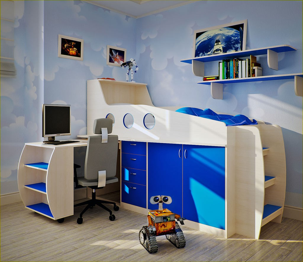 outstanding-trends-decorating-ideas-for-little-boys-rooms-displaying-warm-sky-blue-wall-colors-schemes-and-wooden-loft-beds-connected-with-study-desk-which-has-storage-space-on-the-left-side-as-well-a +25 Marvelous Kids' Rooms Ceiling Designs Ideas