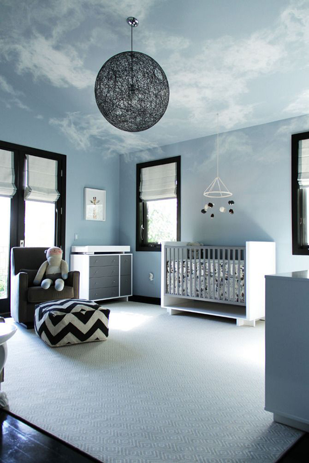 painted-ceiling-cloud-effect +25 Marvelous Kids' Rooms Ceiling Designs Ideas