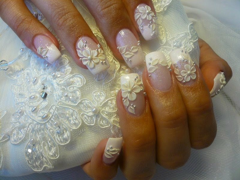 pearl-acrylic-nail-art-photo 50+ Coolest Wedding Nail Design Ideas