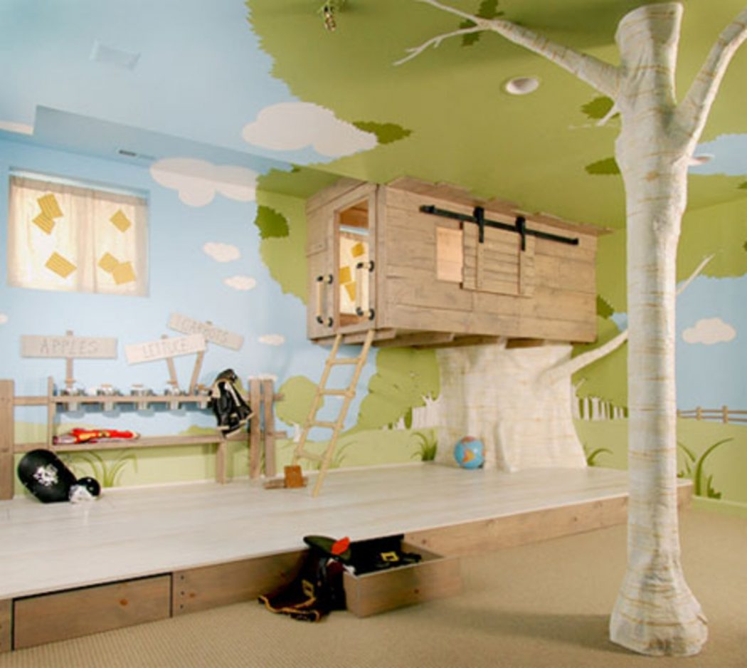 unusual-design-ideas-of-cool-kid-bedroom-with-tree-house-shape-bed-frames-and-natural-floral-pattern-wallpaper-with-kids-room-also-childrens-bedroom-ideas-for-boys +25 Marvelous Kids' Rooms Ceiling Designs Ideas