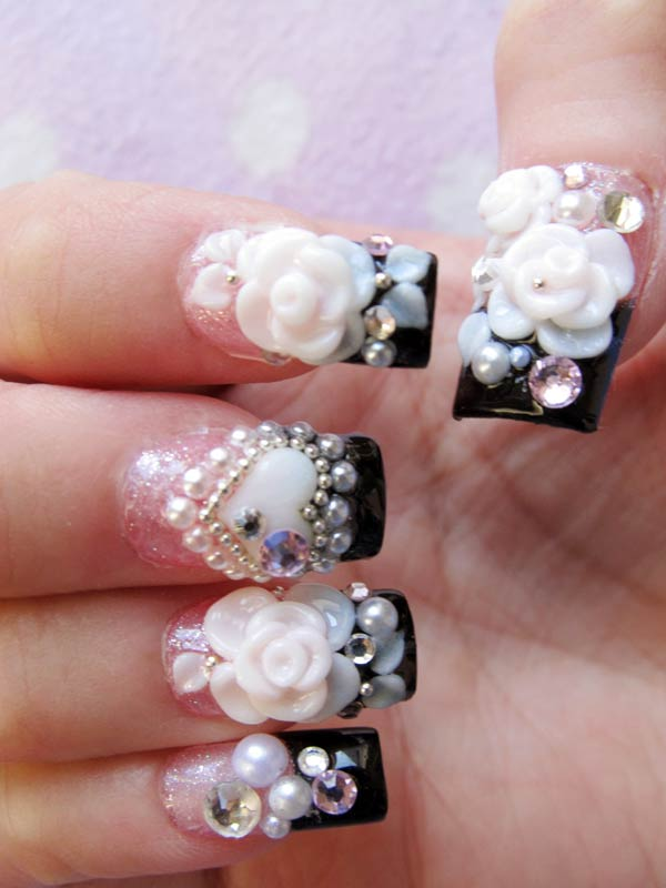 wearing-bling-up-black-angel-nail-tips 50+ Coolest Wedding Nail Design Ideas