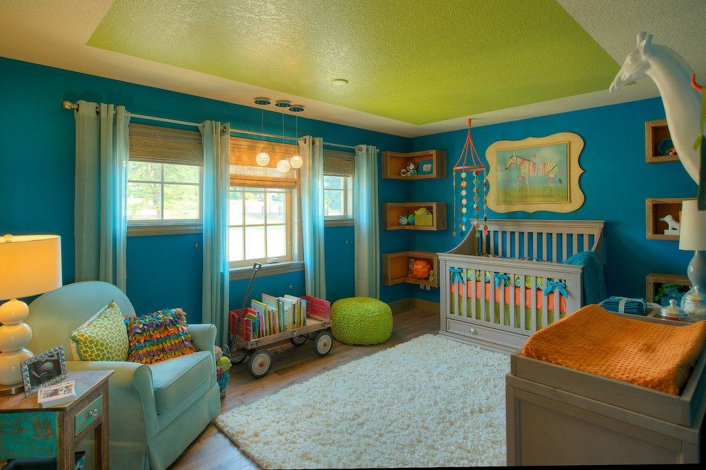17-ceiling-green-color-bloque +25 Marvelous Kids' Rooms Ceiling Designs Ideas