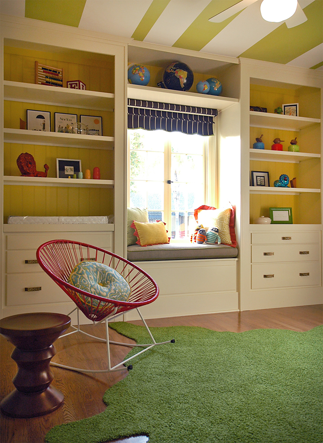 Built-In-Shelves +25 Marvelous Kids' Rooms Ceiling Designs Ideas