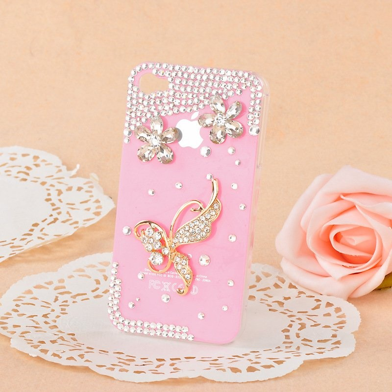 Butterfly-diamond-mobile-phone-luxury-cover-for-iphone4-accessories-for-iphone4g-case-for-iphone4s-case-free 80+ Diamond Mobile Covers
