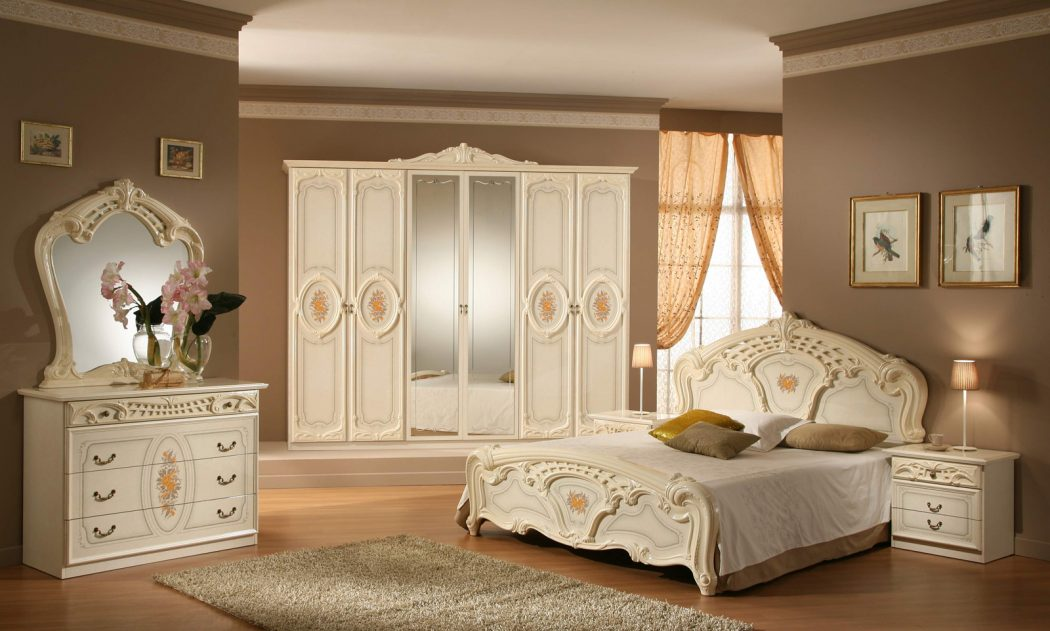 Charming-Bedroom-Furniture-Sets-And-Simple-Bedroom-Queen-Design-With-White-Wooden-Bedroom-Furniture-Ideas-Also-Exciting-Carved-Mirror-Bedroom-Decorating-Ideas 5 Main Bedroom Design Ideas For 2020