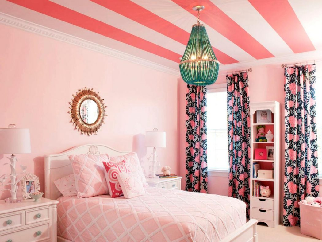 DP_Liz-Carroll-Pink-Girls-Room-Bed-3_s4x3.jpg.rend_.hgtvcom.1280.960 +25 Marvelous Kids' Rooms Ceiling Designs Ideas