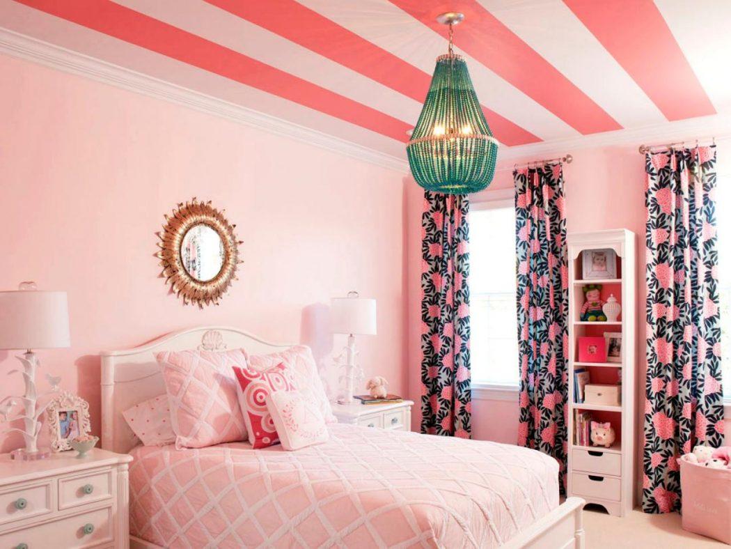 DP_Liz-Carroll-Pink-Girls-Room-Bed-3_s4x3.jpg.rend_.hgtvcom.1280.960 +25 Marvelous Kids' Rooms Ceiling Designs Ideas