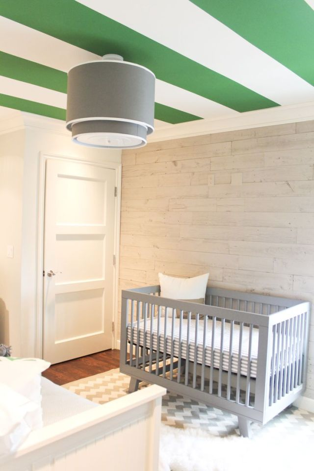 GREEN-STRIPED-CEILING-e1414215938902 +25 Marvelous Kids' Rooms Ceiling Designs Ideas