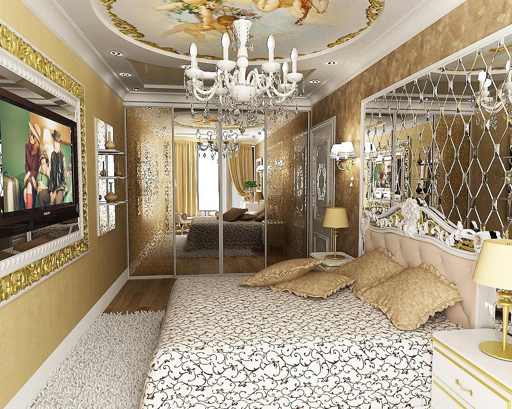 Glamour-classic-bedroom-design-in-white-and-gold-colors-with-wall-decorating-mirror-and-lovely-ceiling-decoration-with-chandelier 5 Main Bedroom Design Ideas For 2020