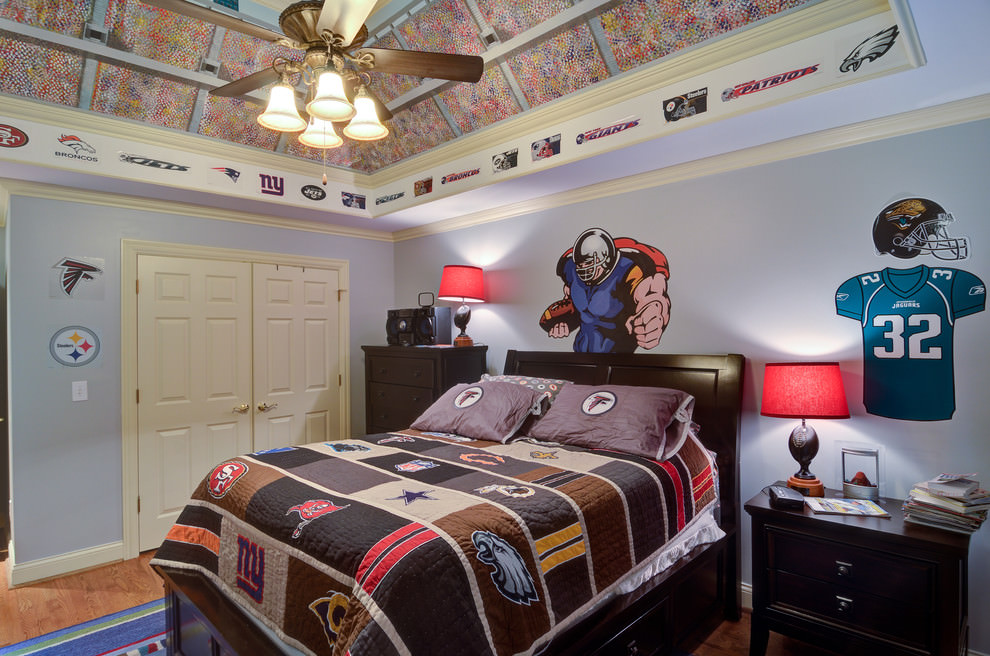 Sports-Themed-Teen-Boys-Bedtroom +25 Marvelous Kids' Rooms Ceiling Designs Ideas