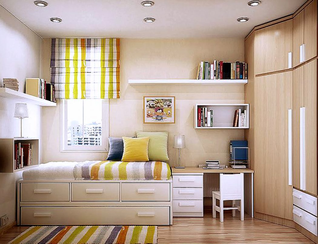 alluring-small-master-bedroom-design-with-white-wooden-storage-beds-fitted-sliding-drawer-under-the-beds-and-white-wooden-floating-bookshelf-attached-to-the-wall-also-bright-brown-wooden-cupboard-moun 5 Main Bedroom Design Ideas For 2020
