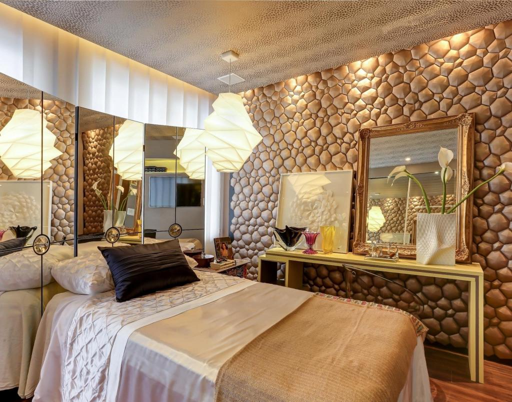 artistic-bright-small-bedroom-design-with-stone-wall-decor-and-mirror-frame-on-vanity-table-along-with-atrractive-pendant-lamp-inceiling-also-mirror-decoration-wall-beside-headboard 5 Main Bedroom Design Trends For 2018
