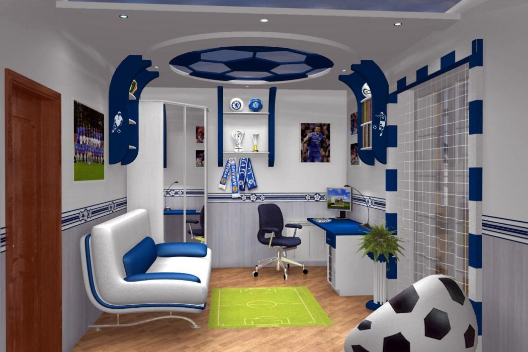 cool-study-room-with-football-decoration-feat-tennis-court-rug-idea-and-awesome-leather-chair-furniture +25 Marvelous Kids' Rooms Ceiling Designs Ideas