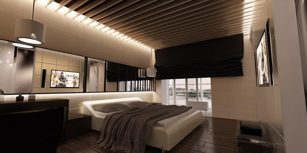 gorgeous-modern-bedroom-design-with-wooden-floor-and-ceiling-decoration-also-stylish-bed-and-wall-decorating-mirror-modern-floor-bed 5 Main Bedroom Design Ideas For 2020