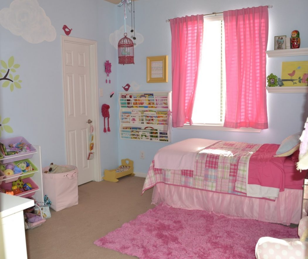 joyful-little-girl-bedroom-with-pink-curtain-also-shag-area-rug-and-creative-wall-bookshelf-design 5 Main Bedroom Design Ideas For 2020