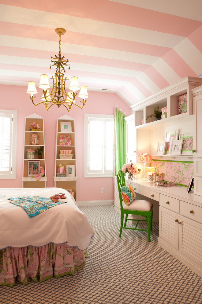 pink-little-girls-bedroom-ideas-traditional-kids-with-a-pink-and-white-striped-ceiling +25 Marvelous Kids' Rooms Ceiling Designs Ideas