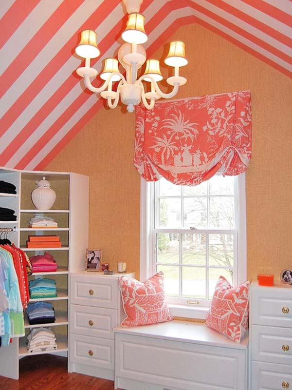 sloping-ceiling-kids-room-design-pink-white-ceiling-stripes +25 Marvelous Kids' Rooms Ceiling Designs Ideas