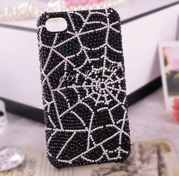 unique-black-spider-net-bling-cell-phone-case-for-iphone-4-4s-rhinestone-cell-phone-cover 80+ Diamond Mobile Covers