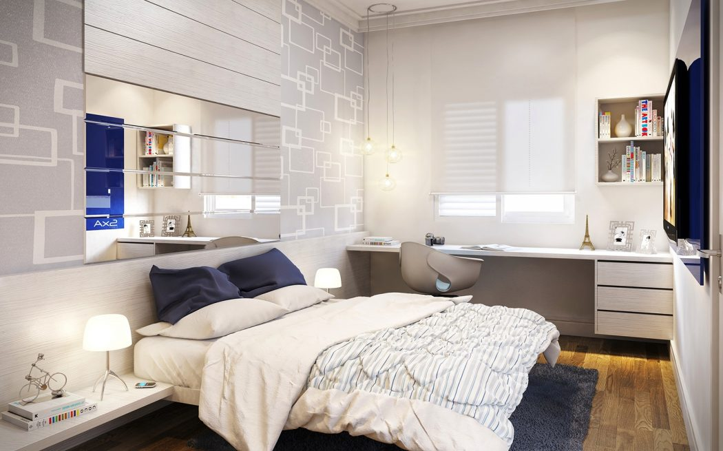 wonderful-small-bedroom-design-with-grey-patterned-wallpaper-and-rectangle-frameless-wall-mirror-above-white-painted-wooden-platform-bed-on-gray-rug 5 Main Bedroom Design Trends For 2018