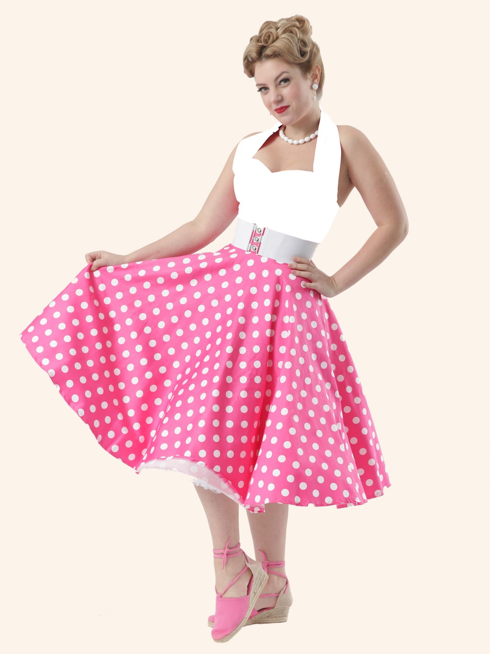 1950s-circle-skirt-cerise-white-polka-p1045-2936_zoom 25+ Women Engagement Outfit Ideas Coming in 2020