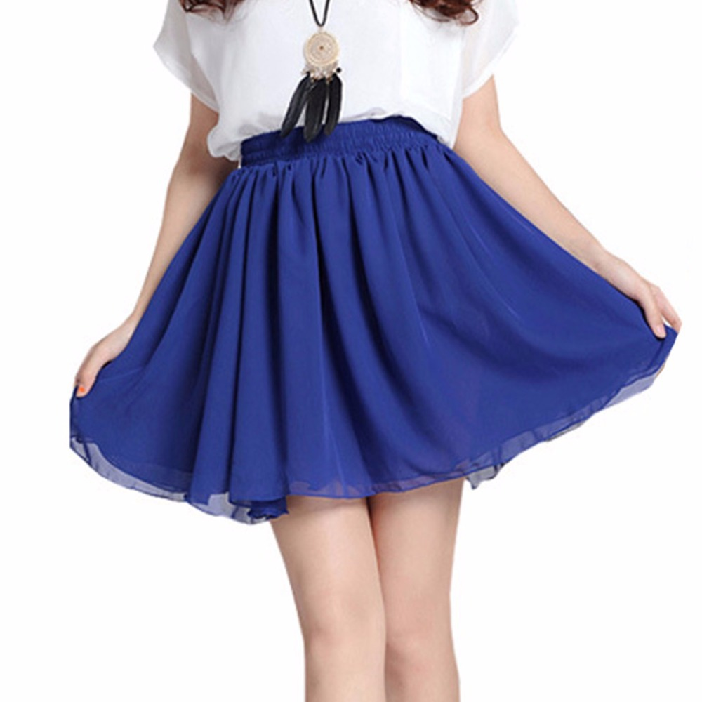 2015-Summer-Fashion-Women-Vintage-Chiffon-High-Waist-Pleated-Skirts-Double-Layer-Ladies-Short-Mini-Skirts 25+ Women Engagement Outfit Ideas Coming in 2020