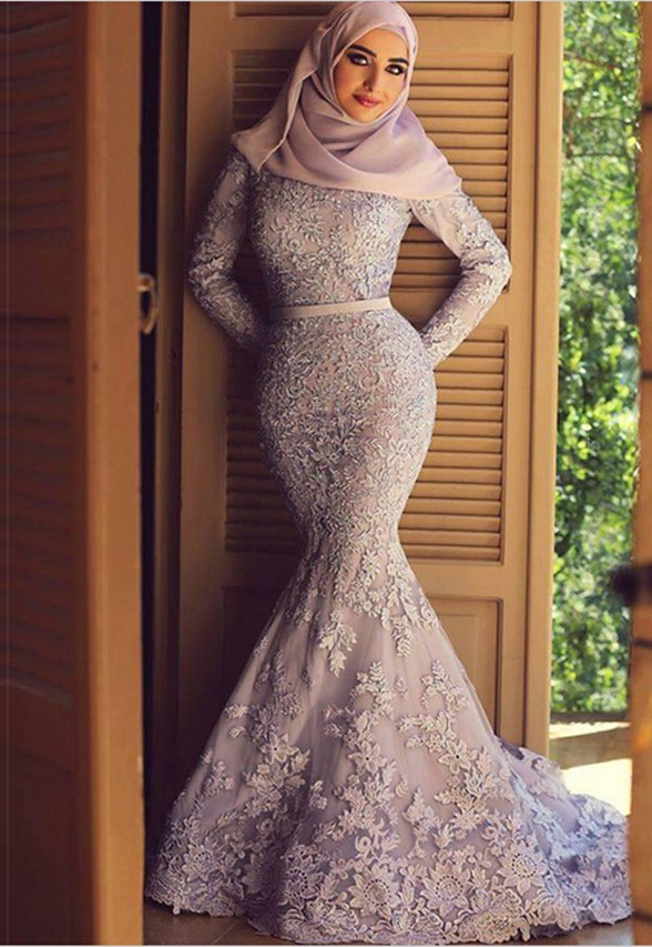 Lace-Long-Sleeve-Muslim-Wedding-font-b-Dress-b-Font-With-Hijab-Veil-Mermaid-Wedding-Dress 5 Stylish Muslim Wedding Dresses Trends for 2020