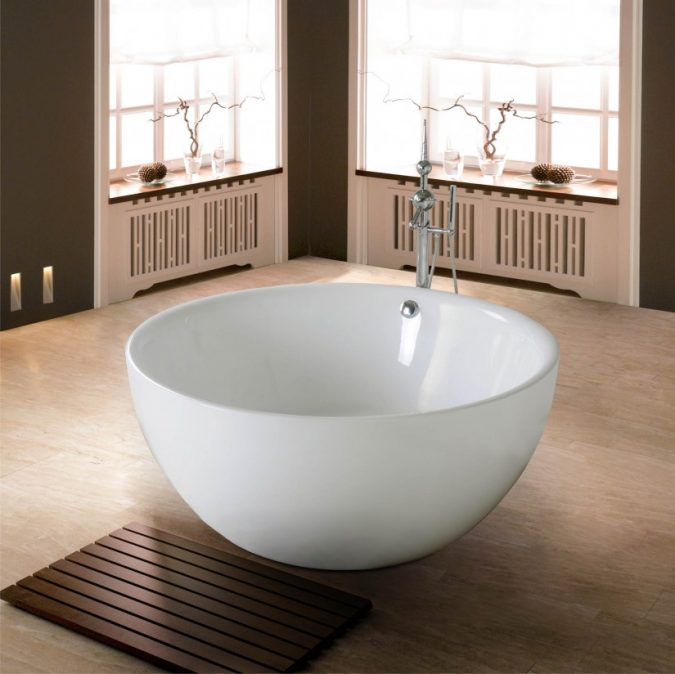 Wooden-square-shaped-bath-rug-675x674 10 Creative DIY Bathroom Rugs