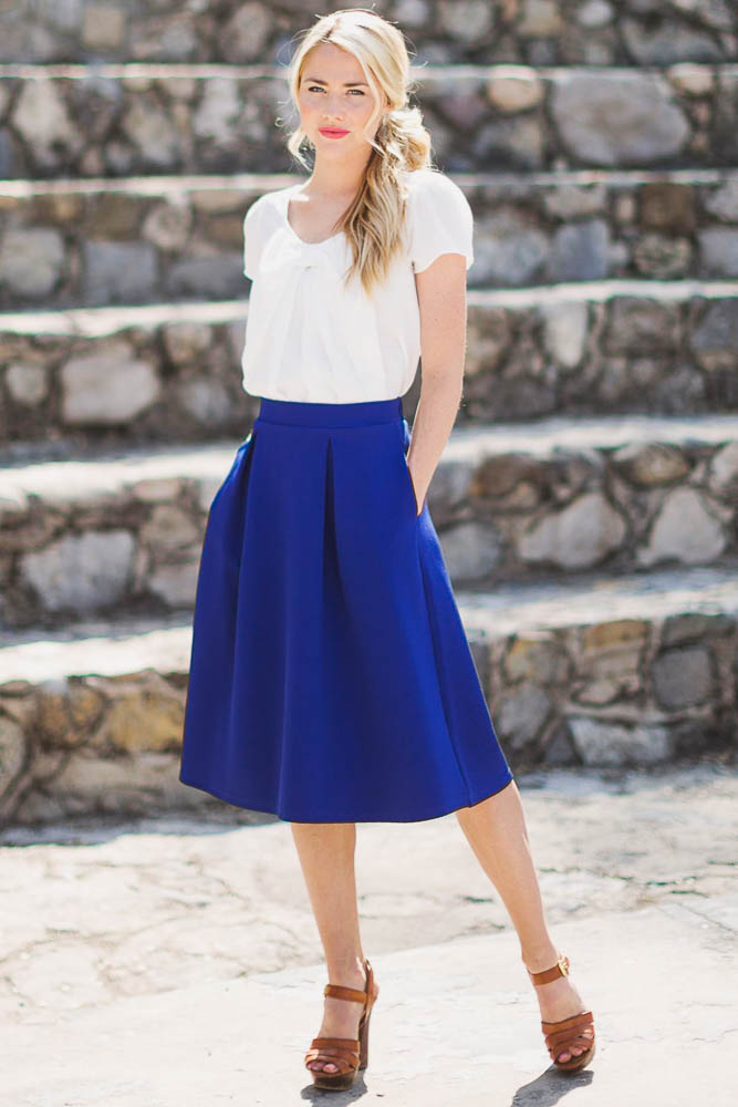 a-line-modest-skirt-in-royal-blue-7 25+ Women Engagement Outfit Ideas Coming in 2018