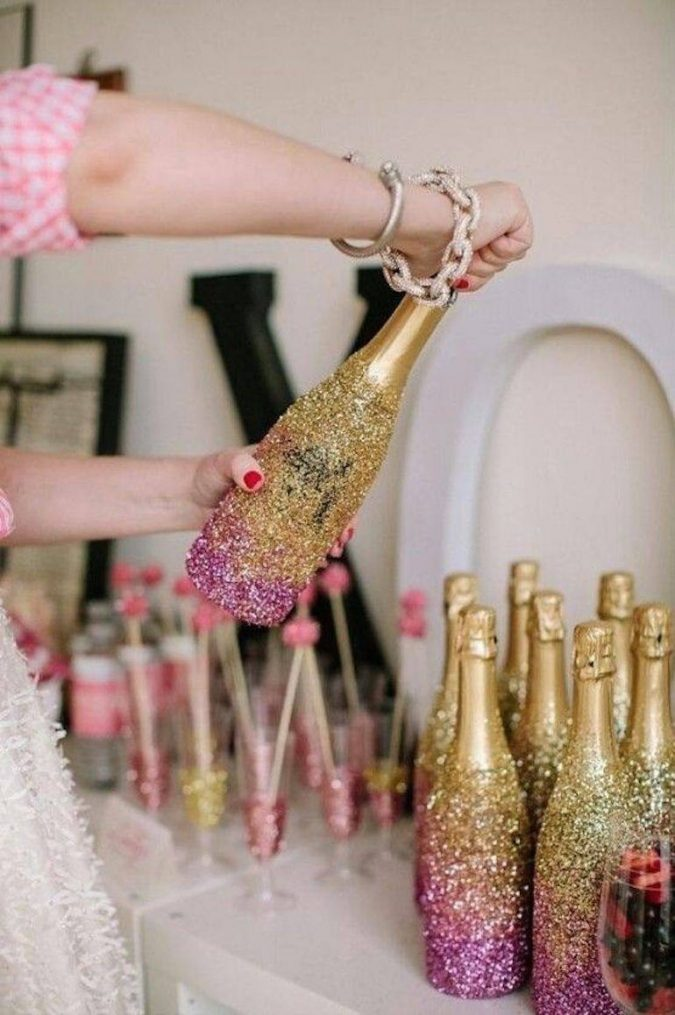 glitter-champagne-bottle-diy-675x1015 2018 Best New Year's Eve Decorating Ideas
