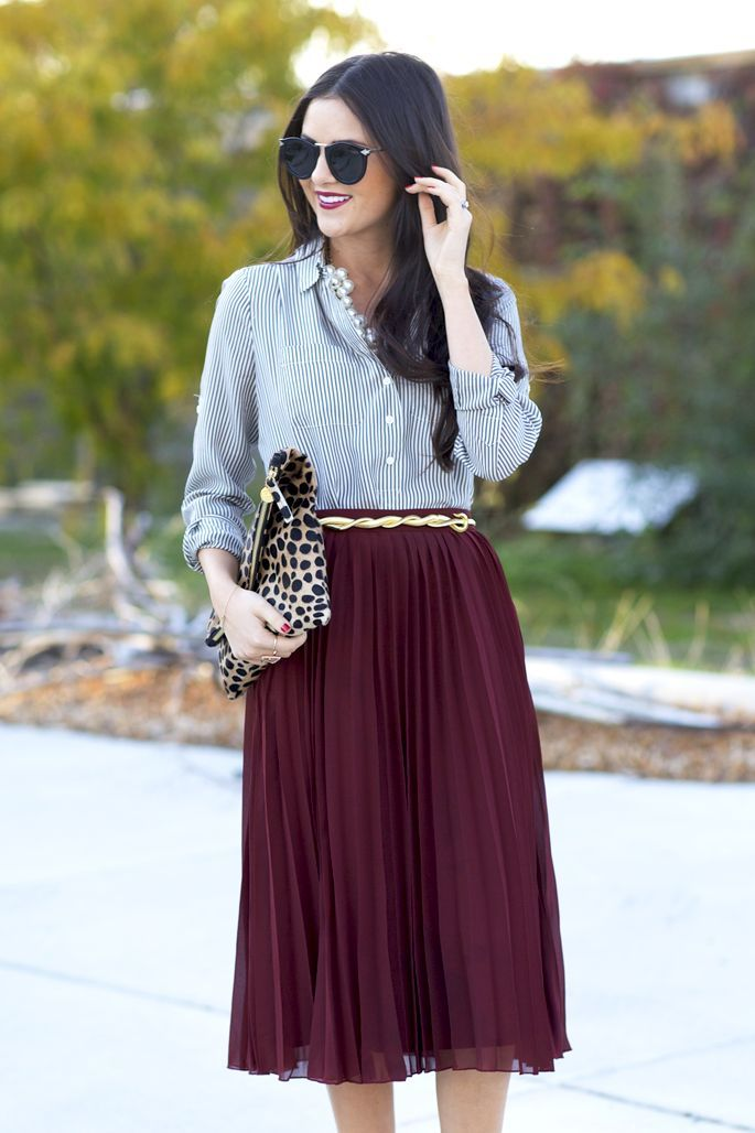 gold-belt-maroon-pleated-midi-skirt 25+ Women Engagement Outfit Ideas Coming in 2018