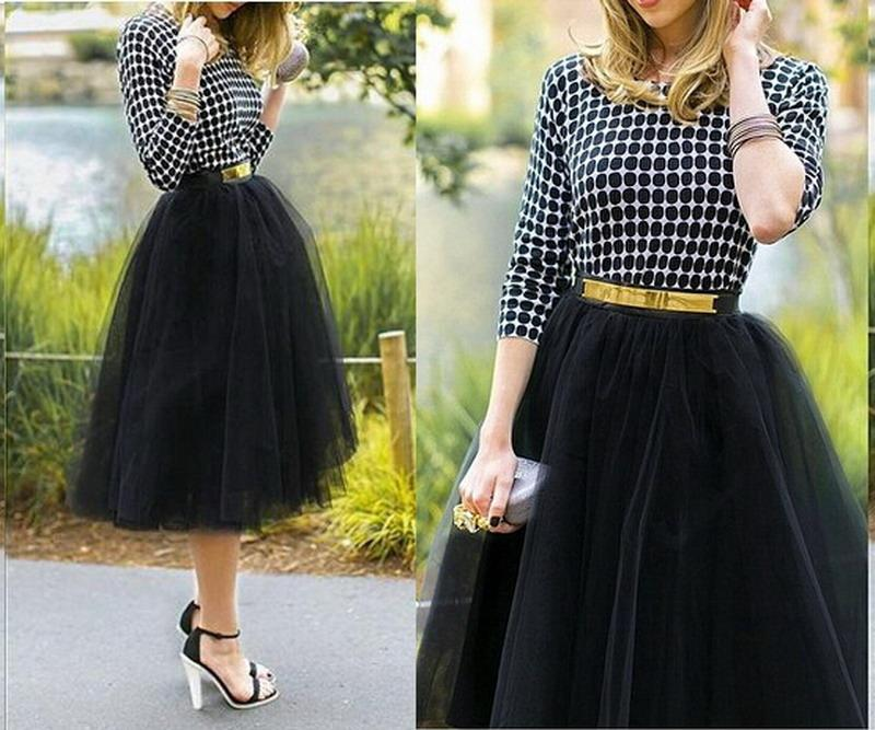 ladies-tulle-skirt-puff-midi-calf-skirts 25+ Women Engagement Outfit Ideas Coming in 2018